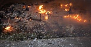 Vila av brand av den brinnande skavanken royaltyfria foton