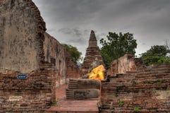 Vila Buddhastatyn, Ayuthaya, Thaialnd Arkivfoton