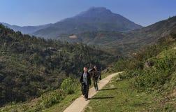 a vila caçoa na maneira de dirigir após a escola, Sapa, Vietname fotografia de stock royalty free