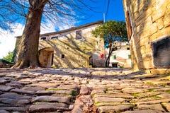 Vila Cobbled de Groznjan na opinião istrian de Hill Street Imagem de Stock