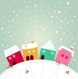 Vila colorida do inverno Imagens de Stock