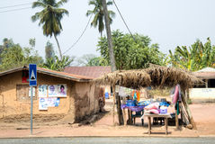 Vila com as plantas de banana em Tafi Atome na região de Volta Foto de Stock Royalty Free