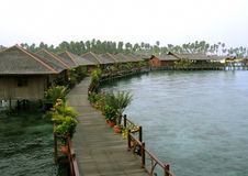 Vila da água de Sipidan Imagem de Stock Royalty Free