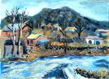Vila da pintura a óleo Imagem de Stock