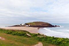 Vila de beira-mar próxima BRITÂNICA sul de Devon England da ilha do Burgh do Bigbury-em-mar Fotos de Stock