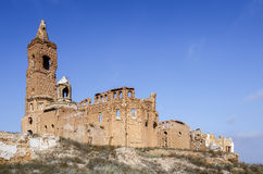 Vila de Belchite destruída em um bombardeio durante a guerra civil espanhola Fotografia de Stock Royalty Free