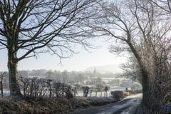Vila de Chatburn quadro por árvores com monte de Pendle atrás Imagem de Stock Royalty Free