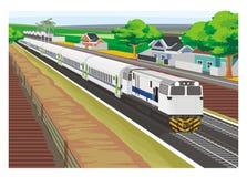 Vila de cruzamento do trem de passageiros Imagens de Stock Royalty Free