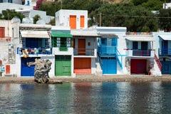 Vila de Firopotamos nos Milos em Grécia Foto de Stock Royalty Free