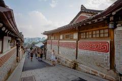 Vila de Hanok em Seoul, Coreia do Sul foto de stock