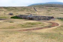 Vila de Maasai no arbusto Imagem de Stock Royalty Free