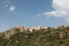 Vila de Montemaggiore na região de Balagne de Córsega fotografia de stock