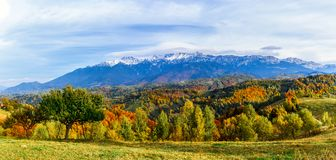 Vila de Pestera, Brasov, Romênia: Paisagem do outono das montanhas de Bucegi fotografia de stock royalty free