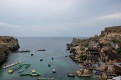 Vila de Popeye em Malta fotografia de stock royalty free