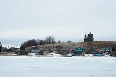 A vila de Vershinino, distrito de Plesetsk, região de Arkhangelsk Imagem de Stock