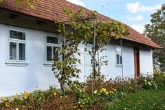 Vila de Voroblevychi, distrito de Drohobych, Ucrânia ocidental - 14 de outubro de 2017: Uma casa velha, vida rural, série em torn Fotografia de Stock Royalty Free