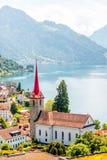 Vila de Weggis em Suíça Fotos de Stock Royalty Free