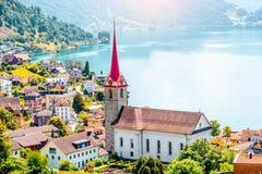 Vila de Weggis em Suíça Fotografia de Stock Royalty Free
