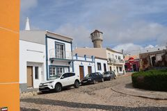 Vila Do Bispo, Portugal. Vila do Bispo, with its narrow streets, whitewashed houses, and peaceful cafes sits almost at the extreme southwest corner of both stock photo