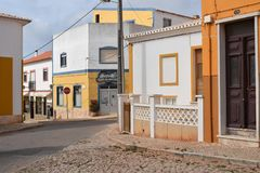 Vila Do Bispo, Portugal. Vila do Bispo, with its narrow streets, whitewashed houses, and peaceful cafes sits almost at the extreme southwest corner of both stock images
