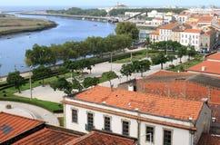 Vila do Conde en de rivier van het Ave, Portugal stock afbeeldingen