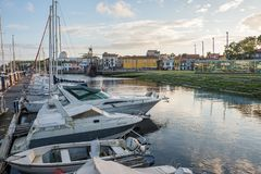 Vila do Conde  river Ave. Vila do Conde, Portugal - June 01, 2018 : Sunny day by the river Ave, Porto district, Portugal Royalty Free Stock Photography