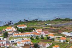 Vila do Corvo village and airstrip, Corvo island, The Azores, Portugal