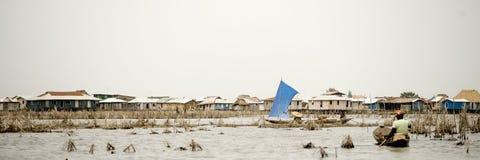 Vila do Stilt de Ganvie em Benin fotografia de stock royalty free