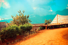 Vila do tribo do monte Fotografia de Stock