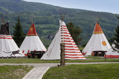 Vila dos nativos americanos imagens de stock