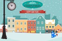 Vila durante o inverno para o cartão do Natal Fotografia de Stock