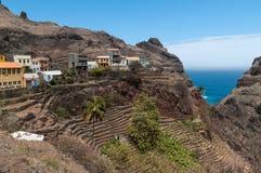 Vila e terraços de Fountainhas, Santo Antao Island, Cabo Verde imagem de stock royalty free