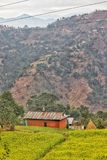 Vila em nepal com a vista de Himalaya fotografia de stock
