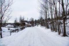 Vila em Noruega no dia de inverno Imagem de Stock Royalty Free