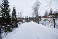 Vila em Noruega no dia de inverno Imagens de Stock Royalty Free