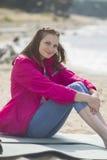 vila för flicka för strand härligt Royaltyfria Bilder