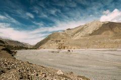 Vila Kagbeni, vale do rio de Kali Gandaki Uma parte do passeio na montanha do circuito de Annapurna na área da conservação de Ann Fotos de Stock Royalty Free