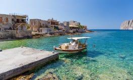 Vila litoral de Gerolimenas em Mani, Peloponnese, Grécia fotografia de stock royalty free