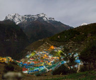 Vila na noite, Nepal do bazar de Namche Imagens de Stock Royalty Free