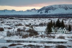 Vila na paisagem de Islândia Foto de Stock Royalty Free