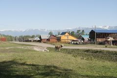 Vila nas montanhas de Rússia fotografia de stock