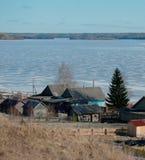 Vila no inverno Foto de Stock