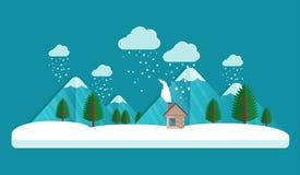Vila no inverno Nuvens no céu queda de neve no ar Casa e montanha Fundo do vetor do cartão de Natal Estilo liso Imagem de Stock Royalty Free