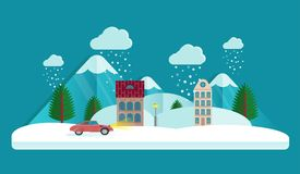 Vila no inverno Nuvens no céu queda de neve no ar Casa e montanha Fundo do vetor do cartão de Natal Estilo liso Imagens de Stock