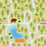 Vila no teste padrão sem emenda da floresta ilustração royalty free