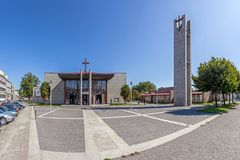 Vila Nova de Famalicao, Portogallo - san Adrian Mother Church Nova Igreja Matriz de Santo Adriao immagine stock libera da diritti