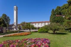 Vila Nova de Famalicao, Portugal - City Hall building left and Tribunal. Vila Nova de Famalicao, Portugal - September 06, 2017: City Hall building left and Stock Photos