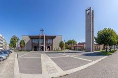 Vila Nova de Famalicao, Portugal - Saint Adrian Mother Church. Nova Igreja Matriz de Santo Adriao. Vila Nova de Famalicao, Portugal - September 06, 2017: Saint Royalty Free Stock Image