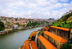 Douro river with Porto and Vila Nova de Gaia cities top view royalty free stock images