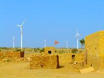 Vila pequena com as casas tradicionais no deserto de Thar, Índia Imagem de Stock Royalty Free